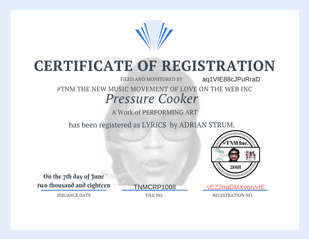 TNMCRP1008- Pressure Cooker- Adrian Strum-Certificate of REGISTRATION